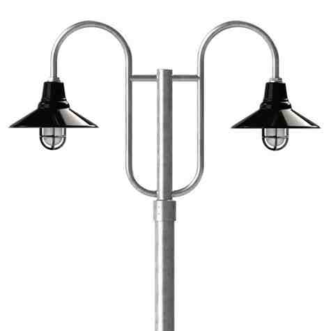"14"" Aero LED, 150-Porcelain Black, Decorative Double Post Mount, 975-Galvanized, Smooth Direct Burial Pole, 975-Galvanized, CGG-Standard Cast Guard, 150-Black, SMK-Smoke Crackle Glass"