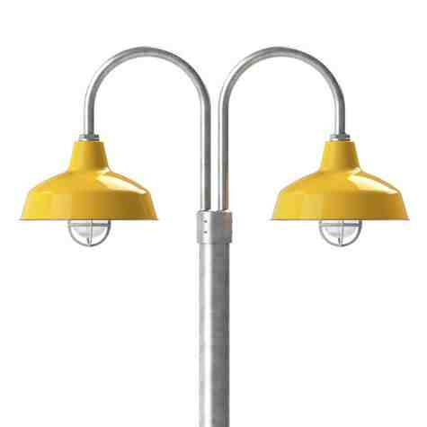 """14"""" Avalon LED, 550-Porcelain Yellow, Double Post Mount, 975-Galvanized, Smooth Direct Burial Pole, 975-Galvanized, CGG-Standard Cast Guard, 975-Galvanized, CCR-Clear Crackle Glass"""