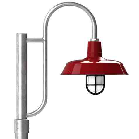 """16"""" The Original™ LED, 455-Porcelain Cherry Red, Single Decorative Post Mount, 975-Galvanized, Smooth Direct Burial Pole, 975-Galvanized, CGG-Standard Cast Guard, 150-Black, FST-Frosted Glass"""