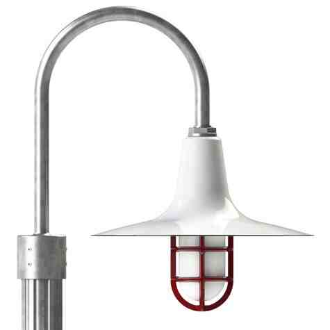 """16"""" Sterling LED, 250-Porcelain White, Single Post Mount, 975-Galvanized, Fluted Direct Burial Pole, 975-Galvanized, CGG-Standard Cast Guard, 455-Cherry Red, FST-Frosted Glass"""