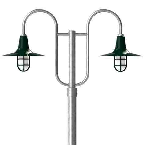 "16"" Sterling LED, 350-Porcelain Vintage Green, Decorative Double Post Mount, 975-Galvanized, Smooth Direct Burial Pole, 975-Galvanized, TGG-Heavy Duty Cast Guard, 975-Galvanized, FST-Frosted Glass"