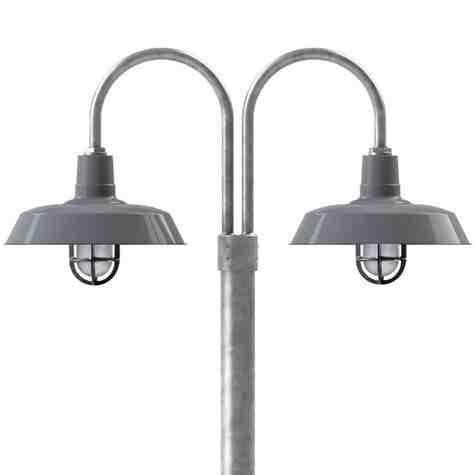 "16"" The Original™ LED, 850-Porcelain Graphite, Double Post Mount, 975-Galvanized, Smooth Direct Burial Pole, 975-Galvanized, CGG-Standard Cast Guard, 150-Black, SMK-Smoke Crackle Glass"