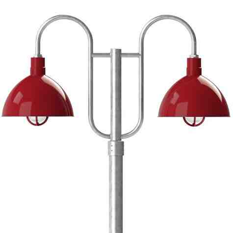 """16"""" Wilcox LED, 455-Porcelain Cherry Red, Decorative Double Post Mount, 975-Galvanized, Smooth Direct Burial Pole, 975-Galvanized, CGG-Standard Cast Guard, 455-Cherry Red, RIB-Ribbed Glass"""