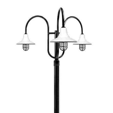 "14"" Aero LED, 250-Porcelain White, 3-Light Post Mount, 100-Black, Smooth Direct Burial Pole, 100-Black, CGG-Standard Cast Guard, SMK-Smoke Crackle Glass"