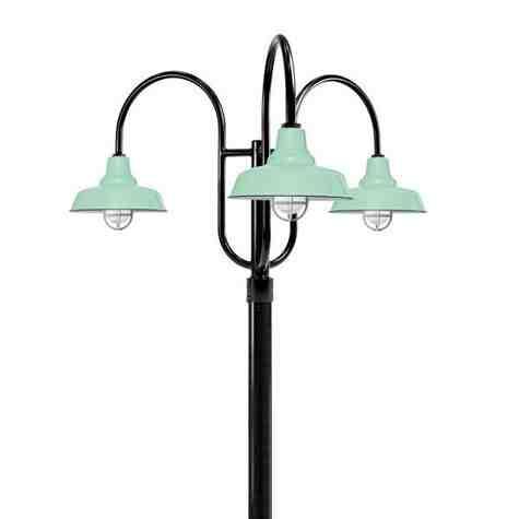 "14"" Union LED, 355-Porcelain Jadite, 3-Light Post Mount, 100-Black, Smooth Direct Burial Pole, 100-Black, CGG-Standard Cast Guard, 975-Galvanized, RIB-Ribbed Glass"