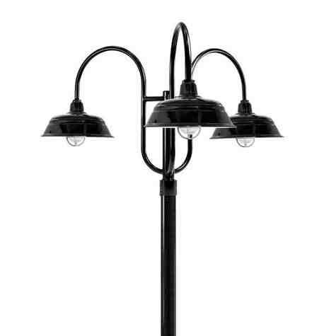 "15"" Bomber LED, 150-Porcelain Black, 3-Light Post Mount, 100-Black, Smooth Direct Burial Pole, 100-Black, CGG-Standard Cast Guard, 975-Galvanized, RIB-Ribbed Glass"