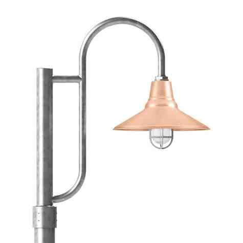"""14"""" Aero LED, 995-Natural Raw Copper, Single Decorative Post Mount, 975-Galvanized, Smooth Direct Burial Pole, 975-Galvanized, CGG-Standard Cast Guard, 975-Galvanized, RIB-Ribbed Glass"""