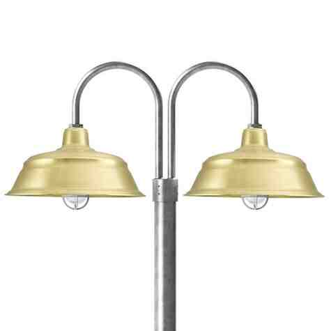 """17"""" Bomber LED, 997-Natural Raw Brass, Double Post Mount, 975-Galvanized, Smooth Direct Burial Pole, 975-Galvanized, CGG-Standard Cast Guard, 975-Galvanized, CCR-Clear Crackle Glass"""