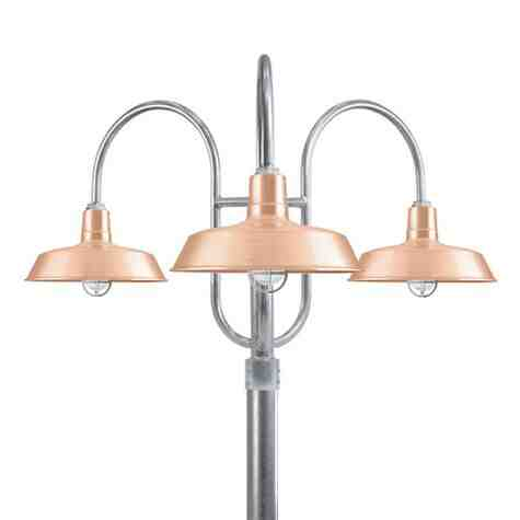 """16"""" The Original™ LED, 995-Natural Raw Copper, 3-Light Post Mount, 975-Galvanized, Smooth Direct Burial Pole, 975-Galvanized, CGG-Standard Cast Guard, 975-Galvanized, RIB-Ribbed Glass"""
