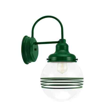 Round Schoolhouse Sconce, 307-Emerald Green, Clear Glass, Four Painted Band