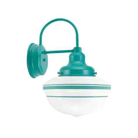 Acorn Schoolhouse Sconce, 390-Teal, Opaque Glass, Three Painted Band