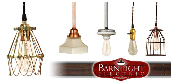 Barn Light Electric Vintage Industrial Cloth Cord Pendants