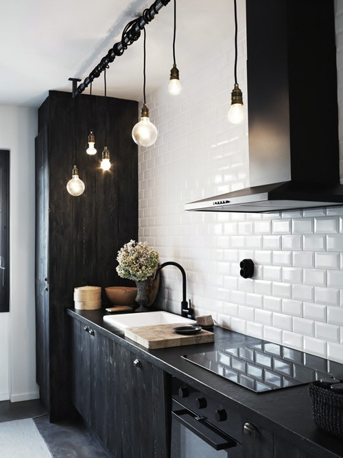 industrial bare bulb pendant kitchen lighting