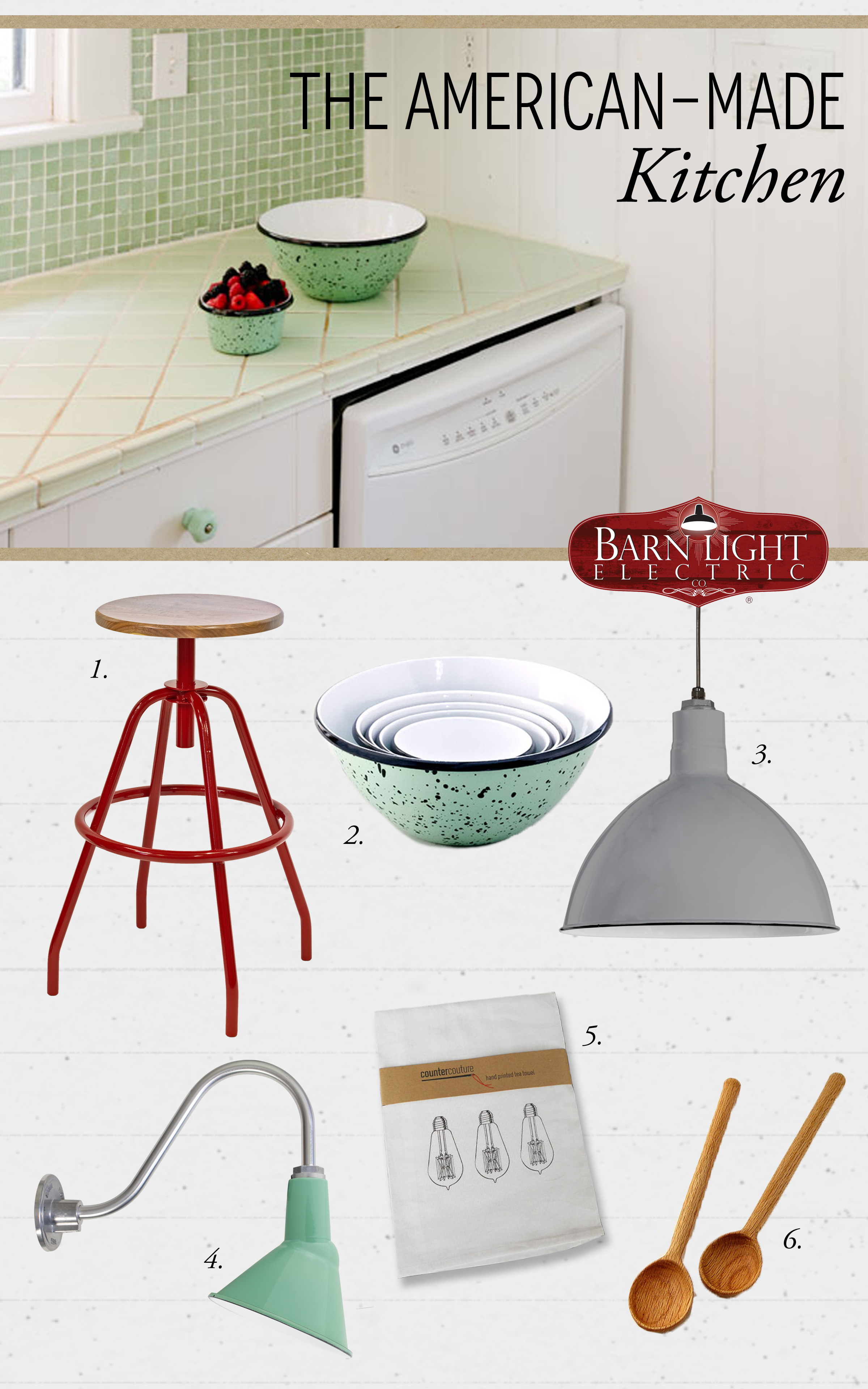 style me sunday american made kitchen barn light