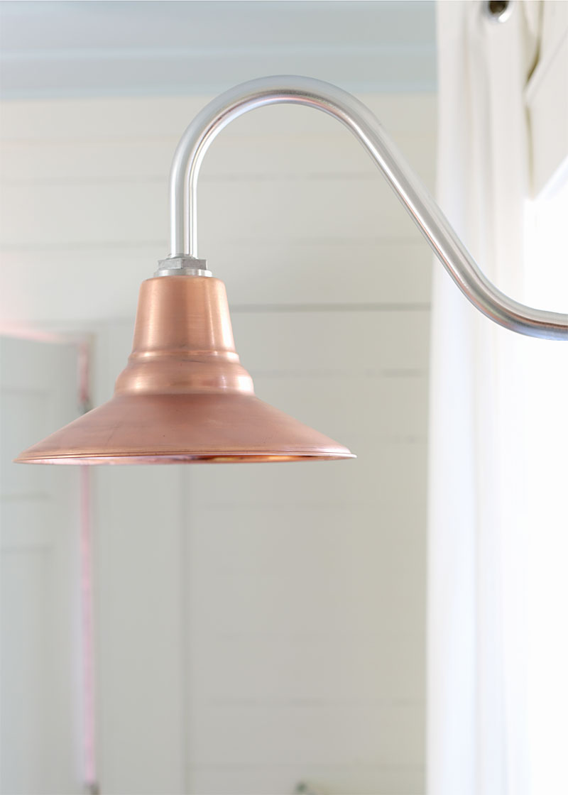 copper astro gooseneck in setting