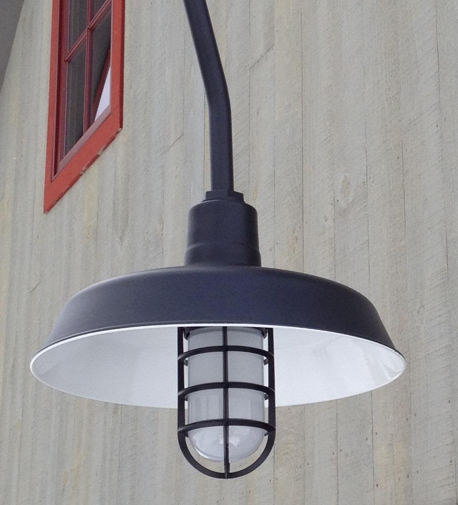 cast guard and glass barn light