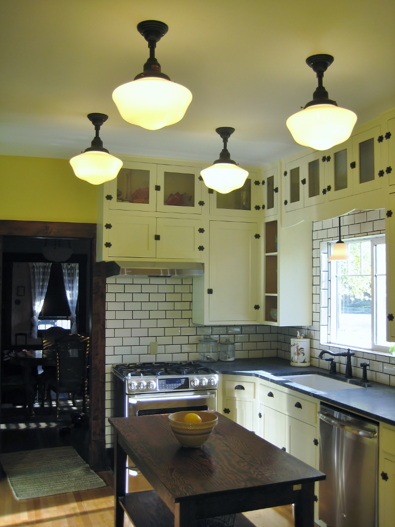 american made schoolhouse lights kitchen