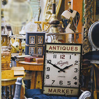 antiques market wood wall clock